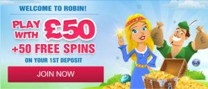 50 Free Spins at Robin Hood Bingo